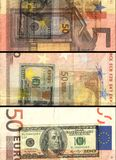 â '¬ 50欧元在色的拼贴画的钞票票据 免版税库存照片