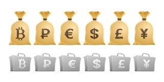"""""""Lleno--Money"""" de los sacos y de los casos Imagen de archivo libre de regalías"""