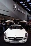 2011 de la demostración de motor de Ginebra MERCEDES SLS AMG Foto de archivo libre de regalías