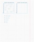 儿童的学校比赛—海战 画在学校笔记本板料 免版税库存照片