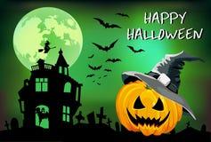 Halloween-pompoen met hoed, affiche, de illustratie van kinderen, groetkaart op een groene achtergrond Stock Foto
