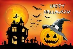 Halloween-pompoen met hoed, affiche, de illustratie van kinderen, kaart op een oranje achtergrond Royalty-vrije Stock Foto