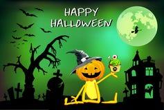 Halloween-pompoenpret - jongen in een hoed met Cake, affiche, de illustratie van kinderen Stock Afbeeldingen