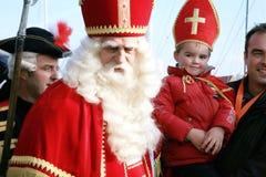 le père noël, rue Nicolas de Sinterklaas. Photos libres de droits