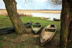 Poland do parque nacional de Narew. Barco de madeira. Imagens de Stock