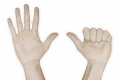 seises del número 6 de la mano fotografía de archivo