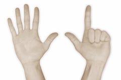 sete do número 7 da mão Imagens de Stock