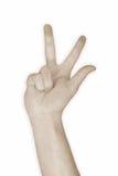 três do número 3 da mão Imagens de Stock