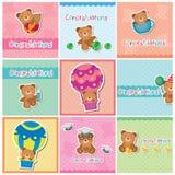 Leuke teddybeer digitale kaarten Stock Fotografie