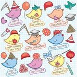 Het leuke birdy art. van de vieringsklem Stock Afbeelding