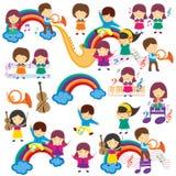 De gelukkige Jonge geitjes van de Muziek Stock Foto's
