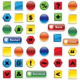 Kleurrijke geplaatst pictogram en knopen Royalty-vrije Stock Afbeelding