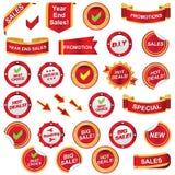 Rode geplaatst etiket en pictogrammen Royalty-vrije Stock Fotografie