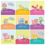 Śliczne zwierzęta gospodarskie karty Zdjęcie Stock