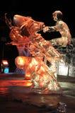 Âge de la sculpture en glace mécanique de Musher image libre de droits
