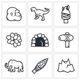 Âge de pierre et aube des icônes de dinosaures Illustration de vecteur Photographie stock libre de droits
