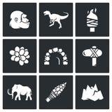Âge de pierre et aube des icônes de dinosaures Illustration de vecteur Image stock