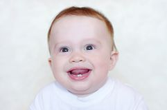 Âge de sourire de bébé de 8 mois Photographie stock libre de droits