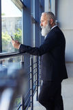 Âge sinistre de monsieur de 50-60 surfant dans le téléphone Image libre de droits
