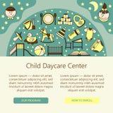 Âme centrale de soin d'enfant et de bébé ou calibre de carte illustration stock