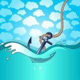A âncora cai na água Foto de Stock