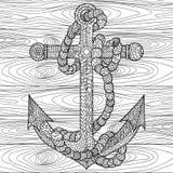 Âncora e corda no estilo do zentangle Imagens de Stock