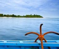 Âncora em um nariz do barco Foto de Stock