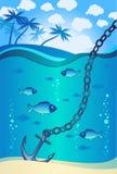 Âncora na água perto da ilha tropical Imagens de Stock Royalty Free