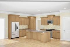 Ângulo largo interior da cozinha Fotografia de Stock Royalty Free