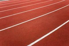 Ângulo lateral das pistas atléticas da trilha Fotografia de Stock