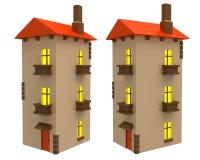 Ângulos diferentes da casa de campo dos desenhos animados isolados Fotografia de Stock