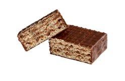 Ð ¡ hocolate opłatki Składa wyśmienicie czekoladowego baru tła cukierku czekoladowego nacięcia odosobniony biel obrazy stock