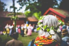 Örebro, Sweden – Juni 22 2018: Celebration of Midsommar. Örebro, Sweden – Juni 22 2018: Celebration of Midsommar midsummer in Wadköping. Grey royalty free stock image