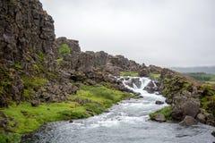 Þingvellir, όπου τα ευρωπαϊκά και αμερικανικά πιάτα συναντιούνται Εθνικό πάρκο Thingvellir κοντά στο Ρέικιαβικ, στοκ εικόνες