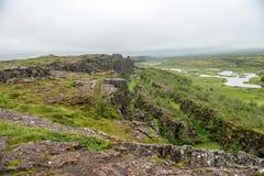 Þingvellir, όπου τα ευρωπαϊκά και αμερικανικά πιάτα συναντιούνται στοκ φωτογραφία