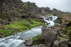 Þingvellir, όπου τα ευρωπαϊκά και αμερικανικά πιάτα συναντιούνται στοκ φωτογραφίες