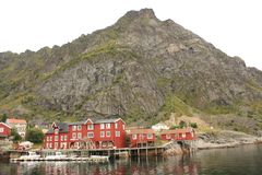 Ã…村庄在罗弗敦群岛海岛在挪威 图库摄影