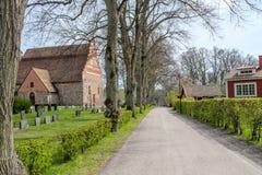 Ã… tvidaberg的,瑞典中世纪教会 免版税库存照片