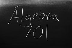 Ã在黑板的 lgebra 101 库存照片