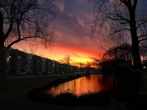 Sunset view in Groningen Netherlands stock photo