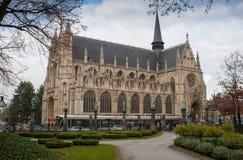 Ã ‰ glise Notre Dame du Sablon, 2013年12月07日,布鲁塞尔,比利时 库存照片