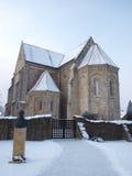 Ócsa. Ócsa, reformed church with Dr. Bkési Panyik Andor sculpture Stock Photo