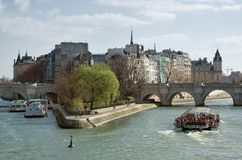 Île de la Cité. Sunny spring day in Paris Stock Photo