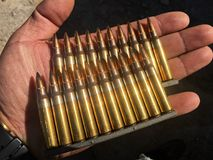 The 5.56×45mm ammo. The colorful of ammo 5.56 mm Royalty Free Stock Photos