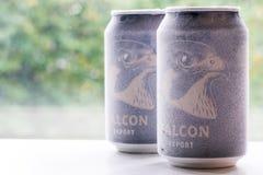 Ã-rebro Suecia latas de cerveza heladas del halcón del 15 de octubre de 2017 fotografía de archivo libre de regalías