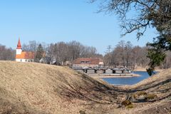 Dwelling site. The Āraiši lake dwelling site Stock Photography