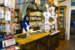Český Krumlov city. Inside a Shop in Český Krumlov city royalty free stock photos