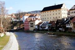 Český Krumlov city. Look from the bridge in Český Krumlov city in early spring stock images