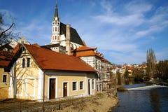 Český Krumlov city. Look from the bridge on Vltava river in Český Krumlov city in early spring royalty free stock images