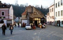 Český Krumlov city. Mona Lisa coffeeshop in Český Krumlov city stock photo
